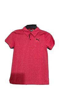 Puma Boys Essential  2 Button Golf Polo Shirt  Flame Scarlet Heather Youth Sz Lg