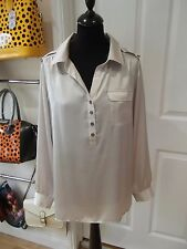 Size 16 Grey Silky Blouse by Cotton Traders with Draw Cord Back with Y Neck
