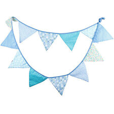 3.3M Blue Handmade Vintage Rustic Cotton Fabric Flag Bunting  -12 flags