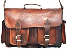 Vintage Messenger Brown Goat Leather Laptop Satchel Bag Genuine Camera Briefcase