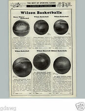 1929 PAPER AD Wilson Laced Leather Basketballs Boxing Gloves