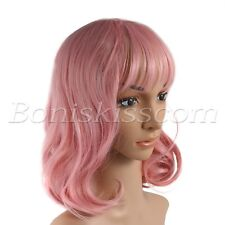 Women's Girls 35CM Short Pink Curly Synthetic Cosplay Costume Party Stage Wig