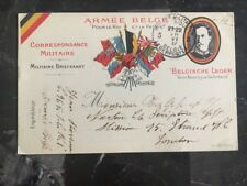 1917 Belgium Military Postal Stationary  Postcard Cover To London England