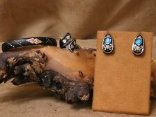Black Frosted Jewelry Set with Turquoise and Black Hills Gold Accents