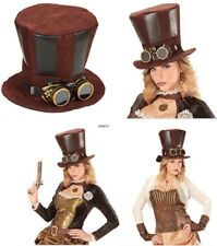 Steampunk Top Hat With Goggles for Fancy Dress Accessory - Unisex Brown