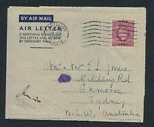 04204) GB / UK GA Aerogramme LF1 I, Eastleigh Hants 1949 > Australia