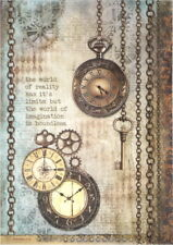 Rice Paper for Decoupage Scrapbook Craft Sheet - Clockwise clock and keys