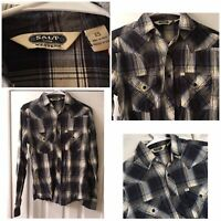 Salt Valley Western Mens Extra Small Shirt Pearl Snap Button Up Blue Plaid EUC!!