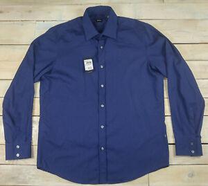 New Hugo Boss Lex Striped Long Sleeve Button Navy Blue Shirt Size L $175