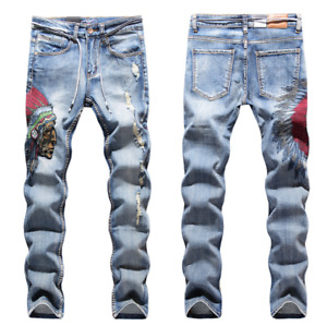 Men Stretch Ripped Skinny Jeans Distressed Frayed Slim Fit Biker Denim Pants US