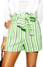 TOPSHOP Striped Shorts Tie Waist Green Paperbag Style Pockets Cotton Size 6