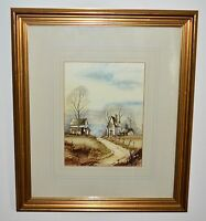 Fantastic J. Morsewell Signed Watercolour of a Landscape with Two Houses