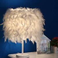 Metal Vintage White Feather Table Lamp Elegant Bedside Night Light Desk Decor