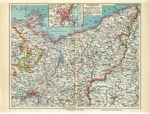1920s GERMANY POMERANIA BRANDENBURG POLAND POMORZE STETTIN/SZCZECIN Antique Map