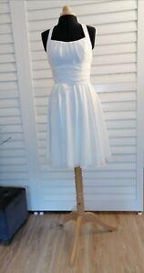 Robe de mariée courte T3 Ivoire en mousseline tour de coup ceinture nouée fluide