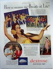 1944 vintage AD Dextrose food-energy sugar, Energy Meter ice skater Carol Lynne