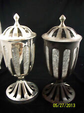 Brass Antique Brown or Silver Compote Metal & Crackled Glass Floral Home Decor