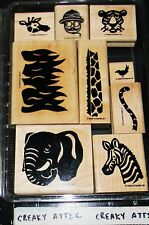 STAMPIN UP DD SAFARI 9 RUBBER STAMPS ANIMALS ELEPHANT GIRAFFE GRASS TIGER BIRD