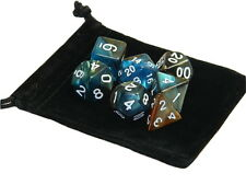 New 7 Piece Polyhedral Blend Blue Copper Dice Set With Dice Bag D&D RPG
