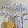 Double Towel Rail Rack Bar holder Wall Mounted Bathroom Shelf Stainless Steel