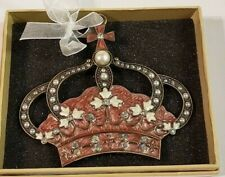 Kirklands Pink & White Crown with Rhinestones & faux Pearls Christmas ornament