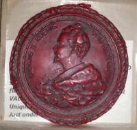 KING LUDWIG II KOENIG VON BAYERN (BAVARIA) RED WAX COURIER SEAL 1 of 10 UNIQUE