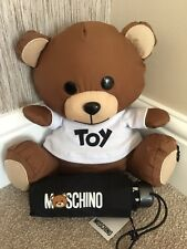 MOSCHINO BLACK MINI COMPACT UMBRELLA WITH POUCH & TOY TEDDY BEAR BNWT