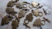 10 Grape leaf bronze plated  zinc necklace or bracelet toggle clasp sets fpc206