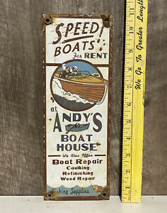 Speed Boats For Rent Andy's Boat House Porcelain Sign Fishing Marine Gas Oil