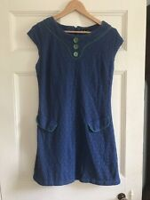Amari 60's style Blue dress with green detail, lacey fabric, SIZE 12