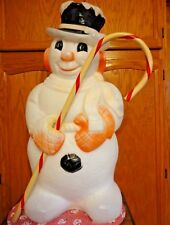 """VINTAGE 30"""" SNOWMAN HOLDING A CANDY CANE CHRISTMAS BLOW MOLD LIGHT UP YARD DECOR"""