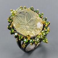 Citrine Quartz Ring Silver 925 Sterling Jewelry fine Art Size 8.5 /R145582