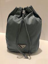 PRADA Fabric Bucket Drawstring Vanity Case AQUA New With Tags
