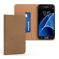 Tasche für Samsung Galaxy S7 Cover Handy Schutz Hülle Case Etui Hellbraun