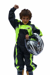 Tuzo Kids Childs Waterproof One piece Overs Oversuit Suit Black / Fluo - T