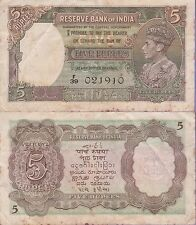 "India 5 Rupees Banknote,(1937) Choice Fine Condition Cat#18-A-1910""King George"""