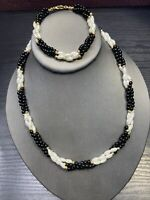 "Vintage Black imitation Freshwater pearl beaded Necklace Bracelet Set 18"""