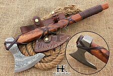HUNTEX Custom Hand-Forged Damascus 53 cm Long Walnut Wood Godzilla Viking Axe