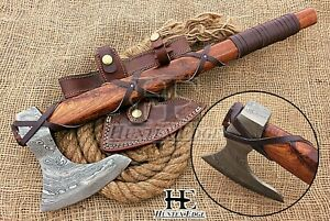 HUNTEX Custom Hand-Forged Damascus 530 mm Long Walnut Wood Godzilla Viking Axe