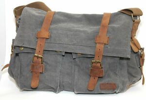 Berchirly Military Canvas w/ Leather Trim Shoulder Messenger Laptop Bag Straps