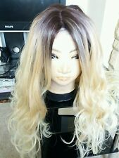 Human Hair Blend Wig Lace Front Ombré Blonde, Real Hair, Dark Roots 26""