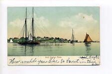 Hull Harbor MA Mass homes in distance, sailing ship, masts, rigging, schooner?