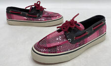 Sperry Top Sider Women's Pink Sequin Plaid Two Eye Boat Shoes Size 6M