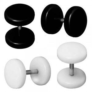4 Fake Plugs Earrings Fake Tunnel Piercing to Screw 6 8 10 12 mm  Black White