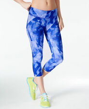 New IDEOLOGY Women's Printed Capri Cropped Leggings Blue Yoga Active Workout M