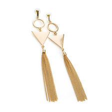 Ladies Gold Coloured Drop Tassel Earrings Long Chain Fashion Jewellery