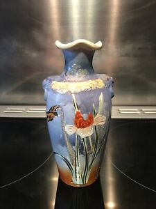 Beautiful Oriental Satsuma Vase Blue With Floral Pattern And Bird. Scalloped Rim