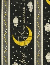 Timeless Treasures To the Moon and Back C5531 Noir Stripe COTTON FABRIC BTY