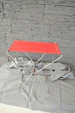 Siège pliant de camping structure métal et tissu rouge - Années 70