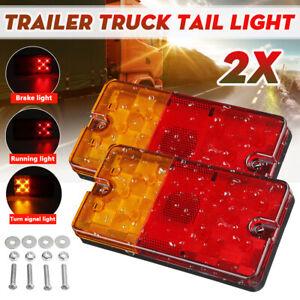 2X 10LED Rear Tail Light LED Lamp Waterproof For Trailer Truck Caravan UTE Boat